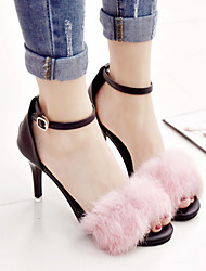 Women's Sandals Spring Summer Fall Comfort Novelty Suede Outdoor Party & Evening Dress Stiletto Heel Feather Buckle Black Pink Burgundy