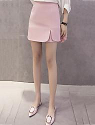 Mujer Chic de Calle Noche Mini Faldas,Línea A Separado Verano Un Color