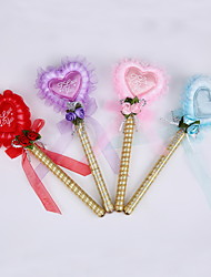 New Ribbon Pure Handmade Lace Heart Wedding Party Signature Pen Marker Pen(Refill Gold)