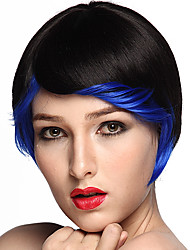 Short Bob Wig Synthetic Fiber Wig Style Black Color Costume Wigs Cosplay Wig With Cap