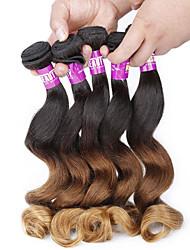 Âmbar Cabelo Peruviano Ondulação Larga 4 Peças tece cabelo