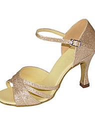 Maßfertigung-Maßgefertigter Absatz-Glitzer-Latin Jazz Swing Schuhe Salsa-Damen