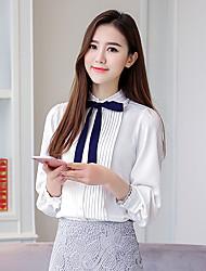 Feminino Blusa Casual Trabalho Simples Primavera Verão,Sólido Branco Poliéster Colarinho Chinês Manga Longa Fina