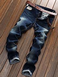 Hombre Corte Recto Chinos Vaqueros Pantalones,Un Color Casual/Diario Sencillo Tiro Medio Botón Cremallera Algodón Micro-elásticaOtoño Con