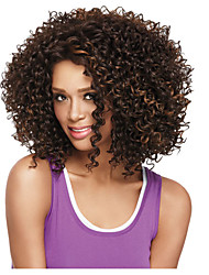 Synthetic Wigs Medium length Curly Wig For African American Brown with Highlights Women Curly Wigs
