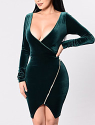 Women's Casual/Daily Club Sexy Simple Zipper Pleuche Bodycon DressSolid Deep V Asymmetrical Long Sleeve  Spring Fall Mid Rise