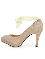 Women's Heels Spring Summer Fall Winter Club Shoes Comfort Ankle Strap Glitter Wedding Party & Evening Dress Stiletto Heel BowknotGold