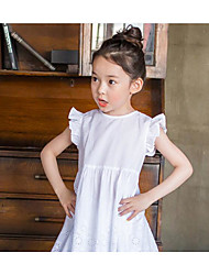 Girl's Casual/Daily School Solid Dress,Cotton Summer Sleeveless