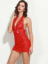 Women Lace Lingerie Chemises & Gowns Nightwear Solid Lace Core Spun Yarn Red
