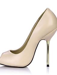Women's Heels Summer Comfort PU Office & Career Dress Stiletto Heel Black Skin