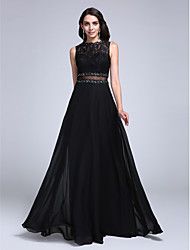 TS Couture Formal Evening Dress - See Through A-line Bateau Floor-length Chiffon Lace with Appliques Beading Lace