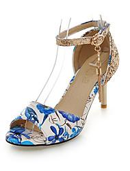 Damen-Sandalen-Kleid Lässig Party & Festivität-Glanz PU-StöckelabsatzSchwarz Rot Grün Blau