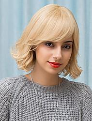 élégant belle mi-longueur capless perruques vague naturelle naturelle des cheveux humains 2017