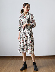 Women's Going out Beach Holiday Simple Chinoiserie Chiffon Dress,Floral Pleated Round Neck Midi Long Sleeve Polyester Beige SpringHigh