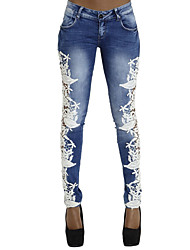 Women's Lace up Skinny Jeans PantsGoing out Holiday Sexy Street chic All Match Color Block Lace Low Rise Zipper Patchwork Micro-elastic Spring Fall