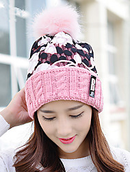 Fashion New Winter Flower Bud Silk Wool Cap Plus Velvet Knit Cap Single Cap Head Cap