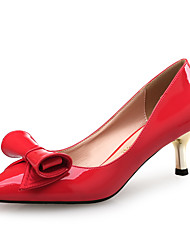 Women's Heels Comfort Synthetic Patent Leather Wedding Party & Evening Dress Low Heel Bowknot Red White