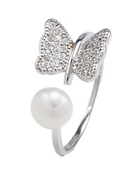 Ring Imitation Pearl Silver Pearl Imitation Pearl Zircon Cubic Zirconia Silver Jewelry Daily Casual 1pc