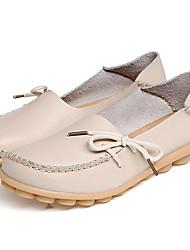 Women's Flats Spring Summer Fall Winter Gladiator Cowhide Office & Career Dress Casual Flat Heel Creepers Blue Beige