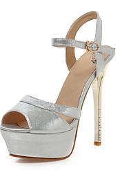 Damen-High Heels-Hochzeit Kleid Party & Festivität-Satin-Stöckelabsatz-Fersenriemen-Schwarz Rosa Gold Silber