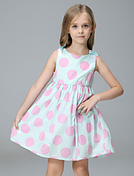 Robe Fille de Points Polka Coton Eté Sans Manches