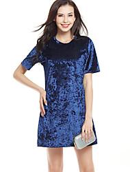 Gaine Robe Femme Sortie Vacances simple Chic de Rue,Couleur Pleine Col Arrondi Mini Manches Courtes Bleu Rose Rouge Noir Argent Polyester