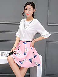 Sign 2017 summer small fresh lotus leaf sleeve shirt dimensional printing two-piece skirt suit women