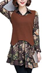 Feminino Bainha Vestido, Para Noite Casual Trabalho Vintage Moda de Rua Sofisticado Retalhos Colarinho de Camisa Acima do JoelhoManga