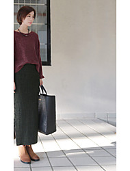 Women's Bodycon Solid Skirts,Casual/Daily Simple High Rise Mini Elasticity Cotton Micro-elastic Fall