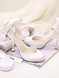Women's Sandals Spring Summer Fall Other Silk Wedding Party & Evening Casual Stiletto Heel Rhinestone Bowknot Black Pink Beige