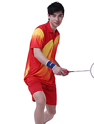 Unisex Short Sleeve Tennis Clothing Sets/Suits Shorts Breathable Comfortable Yellow Red Blue Yellow Red Blue Badminton M L XL XXL XXXL