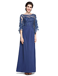 Sheath / Column Bateau Neck Ankle Length Chiffon Lace Mother of the Bride Dress with Lace by LAN TING BRIDE®