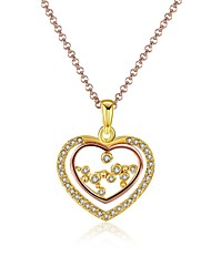 Women's Pendant Necklaces AAA Cubic Zirconia Zircon Gold Plated Alloy HeartUnique Design Dangling Style Rhinestone Heart Fashion Vintage