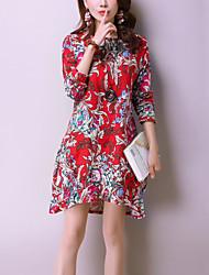 Trapèze Ample Robe Femme Décontracté / Quotidien Vintage Chinoiserie,Imprimé Col Arrondi Mi-long Manches Longues Bleu Rouge Coton Lin
