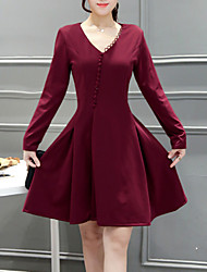 Women's Going out Casual/Daily Cute A Line Sheath Dress,Solid Ruched V Neck Above Knee Long Sleeve Cotton Polyester Spandex Blue Red Black