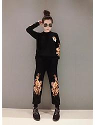 определить подлинные женщин&# 39; s тяжелые вышитые с длинными рукавами трикотажные брюки костюм из двух частей знак