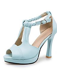 Damen-Sandalen-Party & Festivität Kleid Lässig-PU-Stöckelabsatz-Komfort Club-Schuhe-Schwarz Blau Weiß Beige