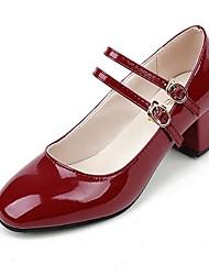 Women's Heels Spring Summer Fall Comfort Mary Jane PU Office & Career Casual Low Heel Chunky Heel Block Heel Hook & Loop Black Red