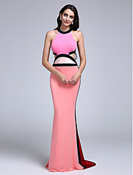 2017 TS Couture® Formal Evening Dress - Beautiful Back Sheath / Column Jewel Sweep / Brush Train Jersey with Pleats