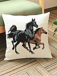1 pcs Two horses printing Linen Pillow CaseAnimal Print Modern/Contemporary