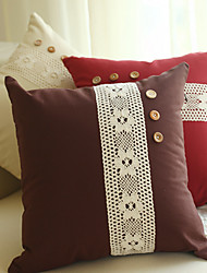 1 pcs Cotton Pillow Case Lace Decorated with Buttons Traditional/Classic Butterfly Random Colors