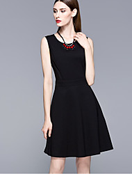 Women's Formal Work Sophisticated A Line Dress,Solid Round Neck Above Knee Sleeveless Nylon Black Spring High Rise Micro-elastic