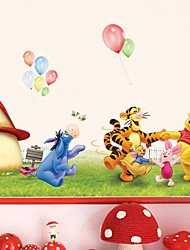 Winnie The Pooh Family Mushroom House Wall Stickers Fashion DIY Children's Bedroom Wall Decals