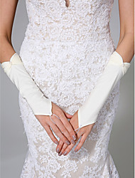 Wrist Length Fingerless Glove Satin Bridal Gloves Pearls