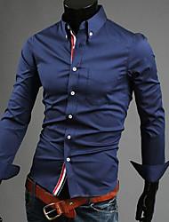 Bomull Langermet Skjorte Ensfarget Fritid/hverdag Plusstørrelser Herre