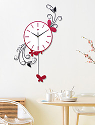 1 Piece Butterfly Shape Quartz Clock/ Fashionable Sitting Room Swing Wall Clock/ Modern Creative Bedroom Mute Wall Clock