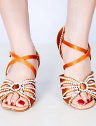 Customizable Women's Dance Shoes Satin Satin Latin Sandals Stiletto Heel Indoor Blue Red Almond