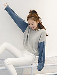 les femmes version coréenne de chandail à capuchon automne paragraphe étudiante casual denim veste couture couverture marée lâche à