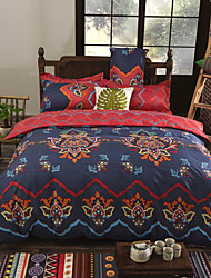 Floral Duvet Cover Sets 4 Piece Polyester Luxury Reactive Print Polyester King 1pc Duvet Cover 2pcs Shams 1pc Flat Sheet