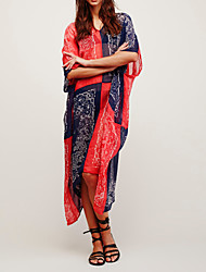 Women's Western Style Beach Loose Cover-Up Print Patchwork Polyester/Chiffon